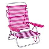 LOLAhome Silla de Playa Cama de 4 Posiciones Rosa de Aluminio y textileno, de 61x47x80 cm