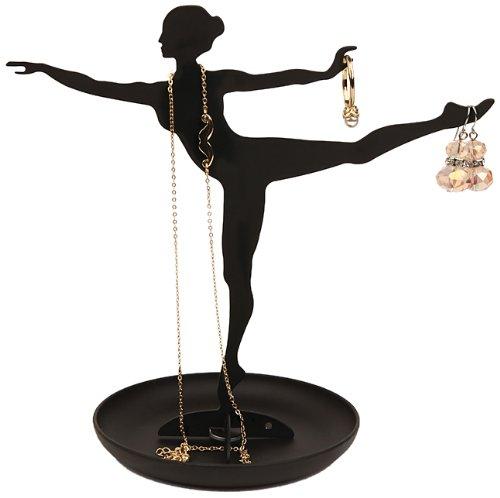 Kikkerland Ballerina Jewelery Holder Portagioie, PVC, Nero, 2x16x19 cm