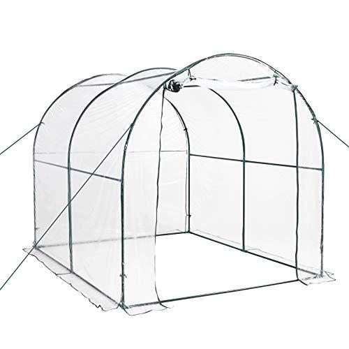 Outsunny Serra da giardino a Tunnel per Piante e Orto con Copertura in PVC, Porta Avvolgibile e Telaio in Acciaio, 2x3x2m