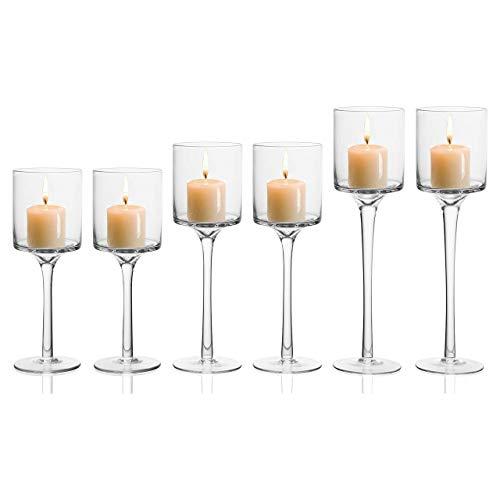 BELLE VOUS Kerzenhalter (6 Stück) - 3 Größen L-26cm, M-23cm, S-20cm Hoch Glas Kerzenständer für Teelichter - Eleganter Teelichthalter, Hochzeit Tischdekoration