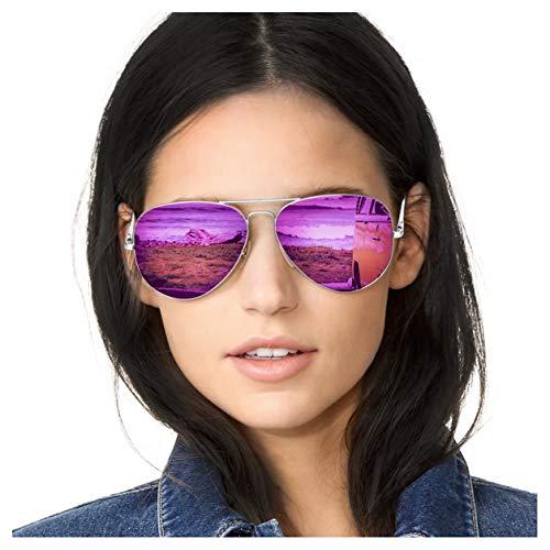 SODQW Pilotenbrille Sonnenbrille Damen Verspiegelt Polarisiert Mode Flieger Brille für Autofahren Angeln Metallrahmen 100% UVA/UVB Schutz (Silberner Rahmen Lila Linse)