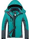 GEMYSE wasserdichte Berg-Skijacke für Frauen Winddichte Fleece Outdoor-Winterjacke mit Kapuze (Hellblau Grau,M)