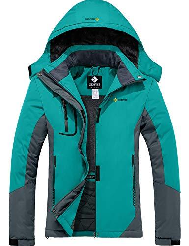 GEMYSE wasserdichte Berg-Skijacke für Frauen Winddichte Fleece Outdoor-Winterjacke mit Kapuze (Hellblau Grau,L)
