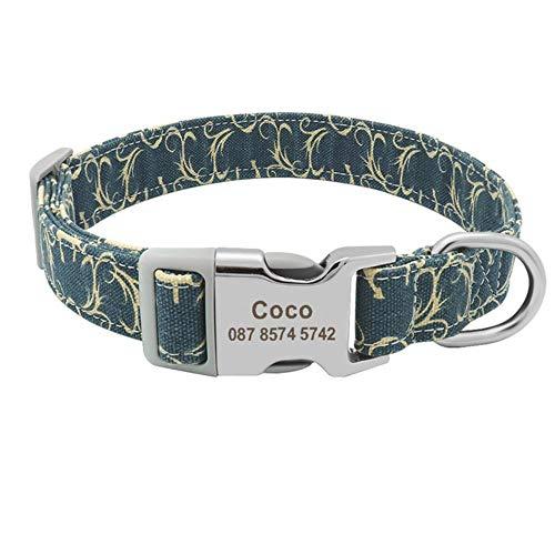 PAIZEP Collar de Mascota Impreso Personalizado Collar de Perro de Nylo
