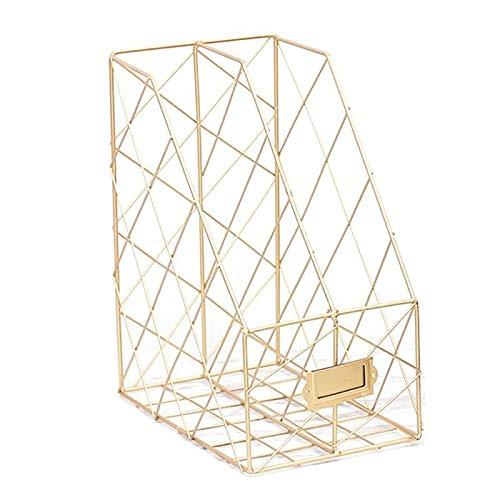 PPuujia Revistero de rejilla de hierro nórdico para archivos, estante simple de doble capa, estante de escritorio, organizador de escritorio, papelería de oficina (color oro)