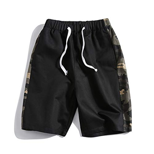CLOOM Cargo Shorts Bermudas Hombre Pantalones Cortos Laboral Talla Grande Pants Deportivos Hombre Streetwear Hombre Pantalon para Deporte Running Fitness Gimnasio(Negro.XXXXL)