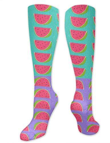 Calcetines de compresión para mujeres y hombres, enfermeras, corredores, mejor calcetín médico para viajes, maternidad, correr, atletismo, venas varicosas, patrón de sandías