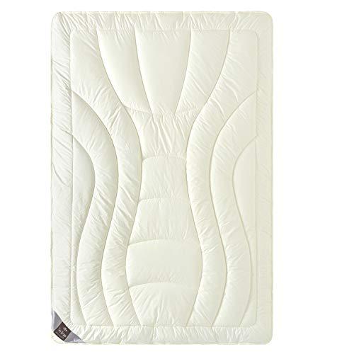 sei Design Wolle Duo-Bettdecke Premium Qualität mit feinste Schurwolle gefüllt – 135x200 extrawarm. Füllung besteht aus Zwei Lagen - Beste Wärmeisolation. Bezug - feiner Mako-Satin 100% Baumwolle