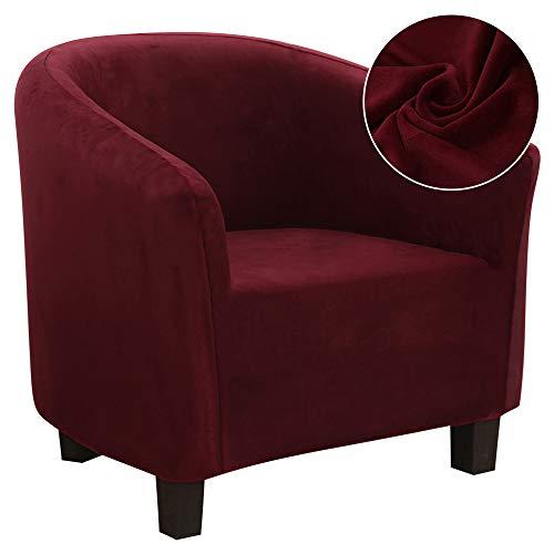 Hifuar - Funda para sillón Chesterfield elástica de 1 plaza, lavable, antideslizante, para bar, salón, dormitorio, recepción (terciopelo burdeos)