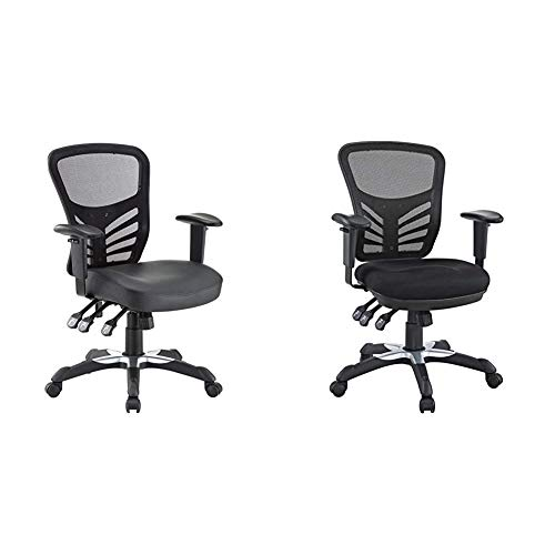 Modway Articulate Mesh Office Chair with Fully Adjustable Vegan Leather Seat in Black & Articulate Ergonomic Mesh Office Chair in Black