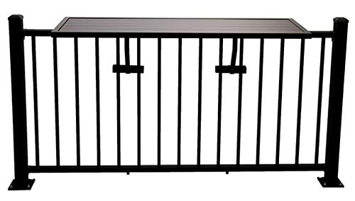 Deck Rail Table   Fits Patio or Deck Railing As A Dining Table, Side Table or Bar top   Aluminum With Simple Attaching Bracket System (Black)