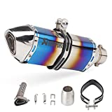 Silenciador de tubo de escape de cono de motocicleta de acero inoxidable Universal 51mm Silenciador de moto DB Killer Eliminador de ruido Reajuste del tubo de escape para Dirt Bike ATV (Blue)