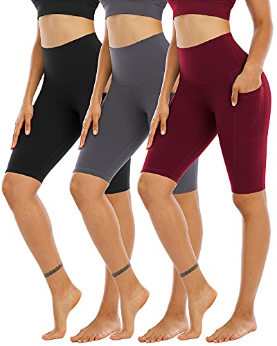 CHRLEISURE 3 Pack Biker Shorts for Women High Waist with Pockets- Spandex Yoga Tummy Control Shorts BlackGrayWine L