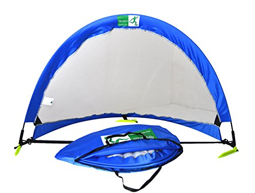 GreEco Pop Up Soccer Goal - Set of 2, Two Portable Soccer Nets & Bag, 4FT Blue x White
