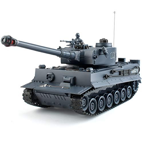 Rc Tanks,1:28 WW2 German Tiger Army Tank Toys for Boys,9 Channels Remote Control Vehicles with Sound and Light,RC Military Toys for Kids Boys Girls(Gray)