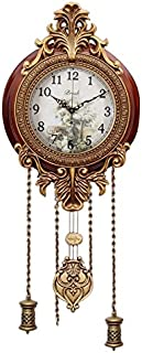 Aero Snail Dia 9-inch Retro Style Vintage Wood Indoor Wall Clock with Swinging Pendulum (Requires 2 AA Batteries for Clock Hands and Pendulum)