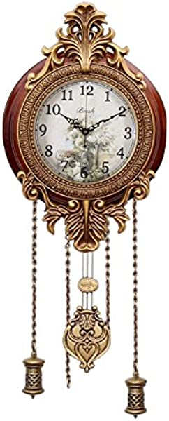 Aero Snail Dia 9 Inch Retro Style Vintage Wood Indoor Wall Clock With Swinging Pendulum Requires 2 AA Batteries For Clock Hands And Pendulum