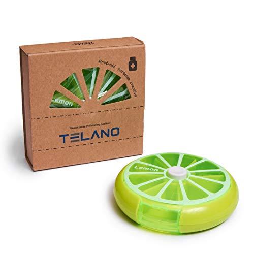 Telano Pillendoosje 7 dagen klein - Pillen Organizer - Medicijn Doosje – Lime groen - Pillendoos rond 7 Vakjes