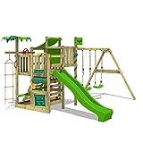 FATMOOSE Parco giochi in legno CrazyCoconut Club XXL Giochi da giardino con altalena SuperSwing e scivolo, Struttura di gioco per bambini, Torre di arrampicata da giardino