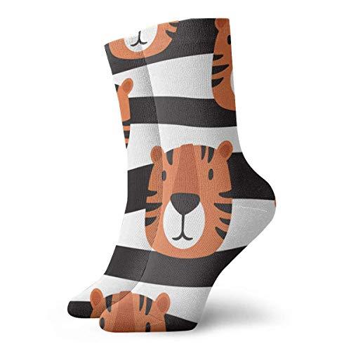 Lustige Freizeit-Socken, Motiv: Maulkorb der Tiger, handgezeichneter Hintergrund, bedruckt, Sportsocken, 30 cm lang