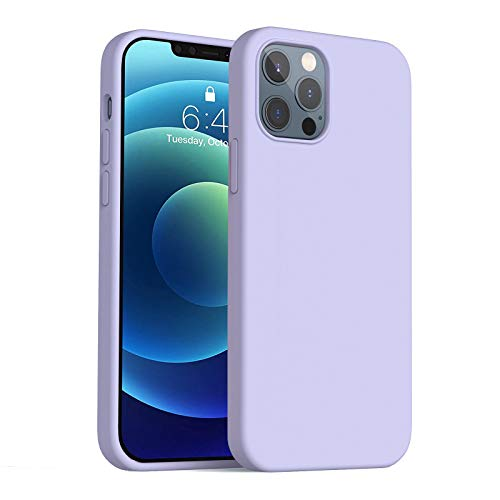 Anyos Compatible with iPhone 12 Case and iPhone 12 Pro Case 6.1 inch, Liquid Silicone Rubber Full Body Protective Phone Case with Soft Microfiber Cloth Lining for Women Men Girls Boys, Purple
