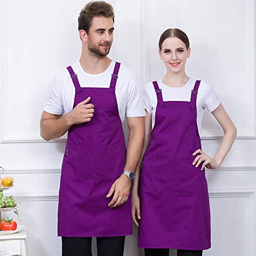 Küche und Kochen Damen Schürze,Polyester Baumwolle hängenden Hals Schürze,Hot Pot Shop/Grill/Küche/Koch Overall @ lila,verstellbare Koch Schürze mit Taschen