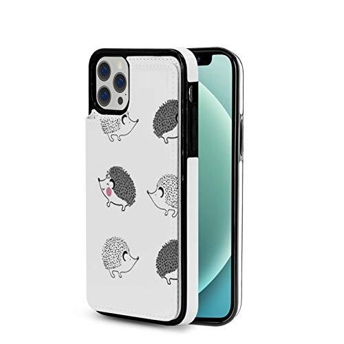 KAIXIN Mit Igel-Motiv - Funda para iPhone 12 (piel sintética, cierre magnético, tapa blanda), color negro
