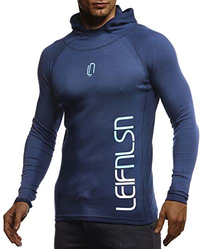 Leif Nelson Gym Herren Fitness Langarm-Shirt Funktionsshirt Kapuzenshirt Slim Fit Männer Bodybuilder Trainingsshirt Hoodie Sportshirt Bodybuilding Training LN8287 D-Blau-Türkis Medium