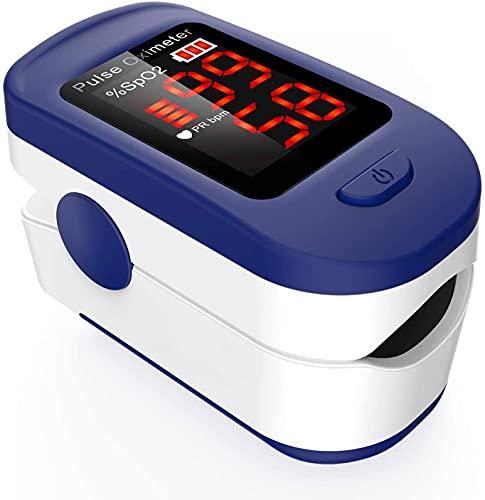Oxymètre de Doigt Professionnel AGPTEK, Oxymètre de Pouls Électronique Numérique avec Moniteur de Fréquence Cardiaque-Saturomètre Capteur d'Oxygène-Ecran LED-Étui/Lanière inclus-Blanc et Bleu