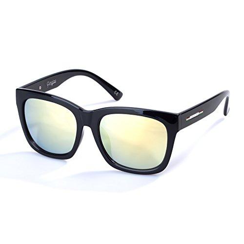 Colossein Classic Polarized Sunglasses For Men Square Black Frame Mirrored UV400 Lens(Gold)