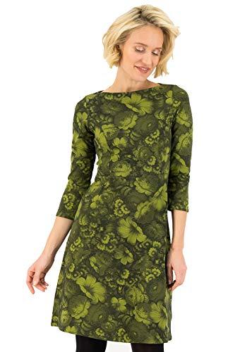 Blutsgeschwister Kleid Home Sweet Robe Midi-Kleid Sweatkleid Knielang U-Boot Grün M