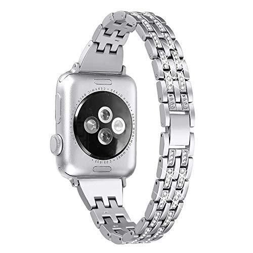 Mantimes Correa de reloj de 40 mm para iWatch de 38 mm para mujer, con diamantes de imitación delgados