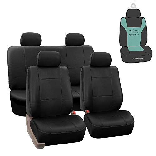 FH Group PU002114 Premium PU Leather Seat Covers (Black) Full Set with Gift – Universal Fit for Cars Trucks and SUVs
