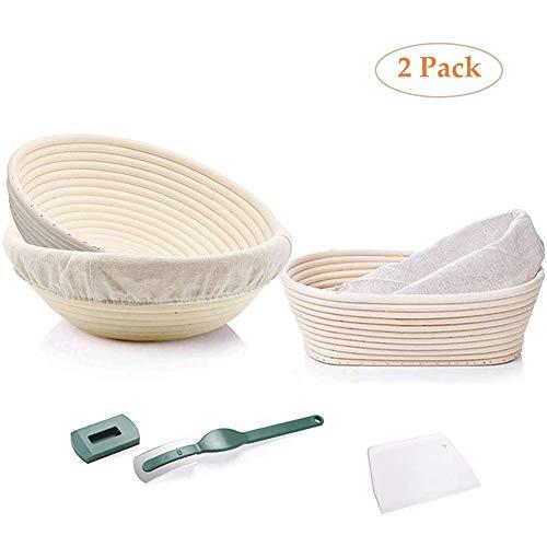 Banneton Proofing Bread Basket 9 Pollici Round 8 Pollici Ovale lievito Naturale Cottura Set Rattan Coppa di Pane in Lino Liner Panno Raschietto for Fare Artigianale Fatto in casa Pane