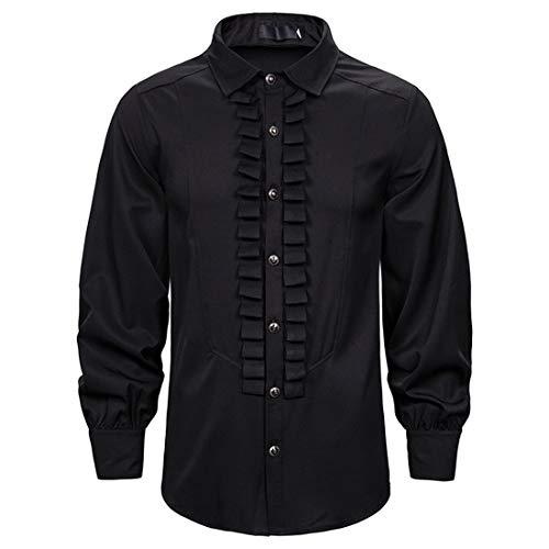 Shirt Men Tops Men Casual Fashion All-Match Slim Fashion Design Lapel Men Shirt Autumn New Long Sleeve Solid Color Button Wedding Work Leisure Men Shirt C-Black L
