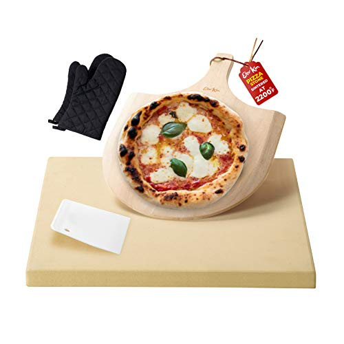 Pizza Stone by Elevkin Baking & Grilling Stone for Oven and Grill/BBQ, Rectangular pizza stone with FREE Wooden Pizza Paddle and Oven mitts, 15x12 Inch Baking Stone for Pizza, Bread, Baguette, Pies