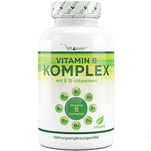 Vitamin B Komplex 500 Tabletten - Alle 8 B-Vitamine in 1 Tablette - Vitamin B1, B2, B3, B5, B6, B12, Biotin & Folsäure - Laborgeprüft - Premium Qualität - Vegan