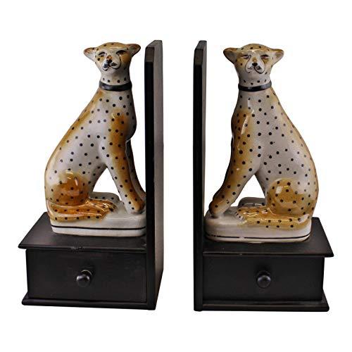 EliteKoopers Juego de 2 sujetalibros de cerámica con diseño de leopardo agrietado para decoración del hogar