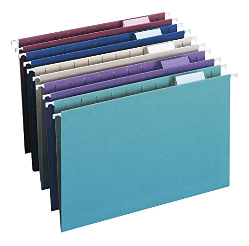 Smead Colored Hanging File Folder with Tab, 1/5-Cut Adjustable Tab, Legal Size, Assorted Jewel Tone Colors, 25 per Box (64156)