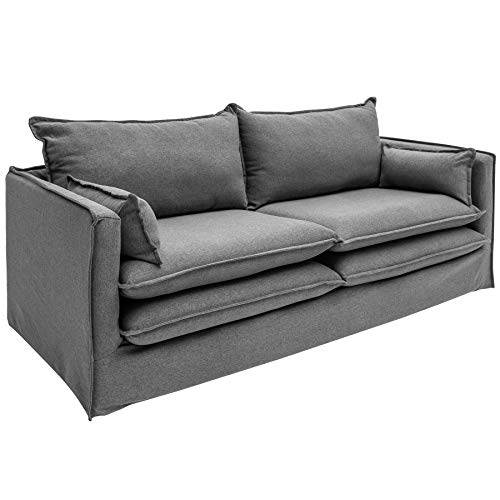 Invicta Interior Design Hussensofa Cloud 195cm Hussenbezug grau inkl. Kissen Landhausstil Hussensofa Couch 2-Sitzer