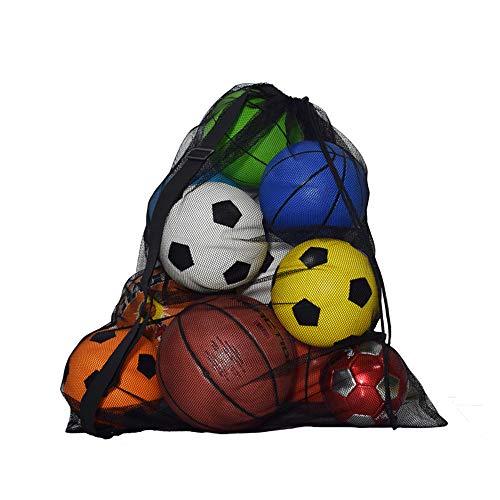 Bolsa de malla para equipos, gran capacidad (28.3 x 39.3 pulgadas) bolsa de almacenamiento con cordón resistente para pelota con correa para el hombro para fútbol, baloncesto, entrenamiento, gimnasio, deportes acuáticos, playa, equipo de natación