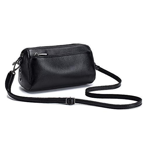 Lecxci Women's Simple Handbags Soft Leather Large Capacity Multifunctional Casual Shoulder Bag (Black)