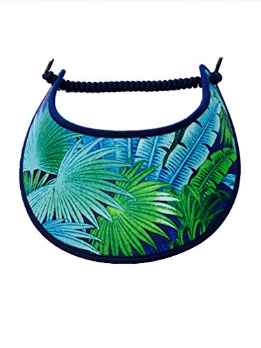 Pickleball - Fashion Fabric Foam Sun Visor for Women - The Sporty Look - Adjustable to Any Size Head - No Pressure & No Headache! - Tropical Foliage w/Trim Blue