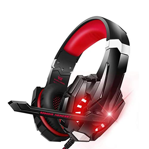 DXH Gaming Headset, Stereo Gaming Headset for PS4 PC with Noise Cancelling Mic Wired Headset Soft Memory Over Ear PS4 Headset with LED Light for Mac, Laptop,Red