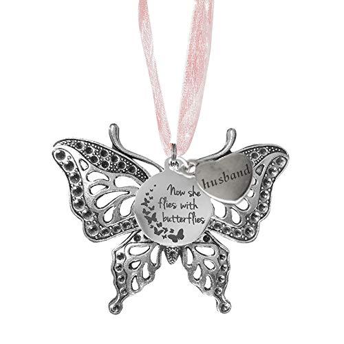 BAOLI Presente de simpatia, pingente decorativo memorial em forma de borboleta oca para membros da família, ornamento de borboleta para janelas, carros, beirados, pátios, colares, 6,4 x 4,9 cm