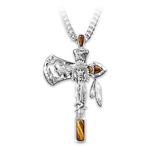 TseenYi Collar con colgante de hacha de indios de plata, collar de cadena larga, collares estilo bohemio, joyería para mujeres y niñas