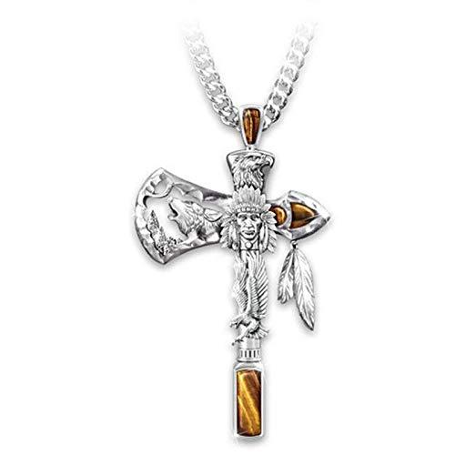 Yienate Collar de cruz punk con colgante de hacha de los indios tallados con cabeza de lobo de águila tallada, joyería de plata vintage para hombres y mujeres y