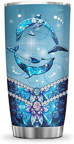 64HYDRO 20oz Printed Dolphin Jewelry Style Inspiration Motivation Dolphin Ocean Lover Tumbler Cup with Lid, Double Wall Vacuum Sporty Thermos Insulated Travel Coffee Mug - BGM3003002Z