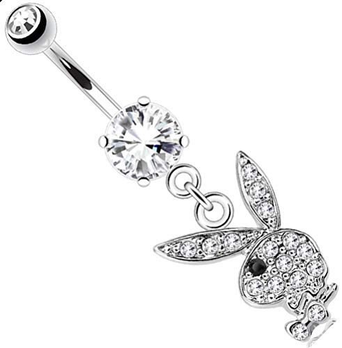 Playboy Body Accentz Belly Button Ring Multi Paved Gems on Bunny Dangle (Clear/black eye)