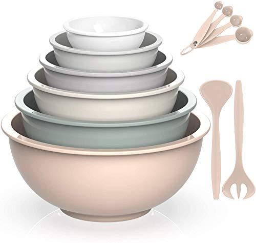AIKKIL - Set di ciotole per insalate in plastica, include 6 ciotole, 2 forchette, 4 cucchiai misurini, ideali per mescolare e servire (sfumatura cachi, 12)